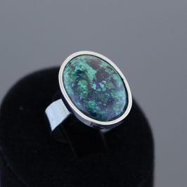 Offener Ring aus geschwärztem (oxidiert) 925-Sterlingsilber und Azurit/Malachit