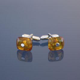 Manschettenknöpfe aus 925-Sterlingsilber und baltischem Naturbernstein