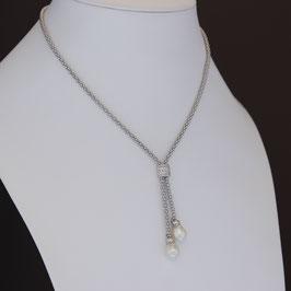 Collier aus rhodiniertem 925-Sterlingsilber, Süßwasserzuchtperle und Zirkonia