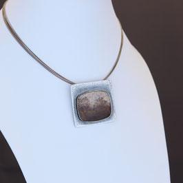 Collier aus geschwärztem 925-Sterlingsilber und Dendritenachat