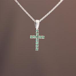 """Anhänger """"Kreuz"""" aus rhodiniertem 925-Sterlingsilber und Smaragd"""