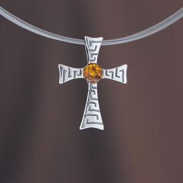 """Anhänger """"Kreuz"""" aus geschwärztem 925-Sterlingsilber und baltischem Bernstein"""