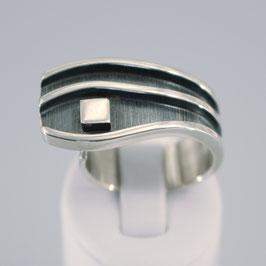 Handgearbeiteter offener Ring aus 925-Sterlingsilber