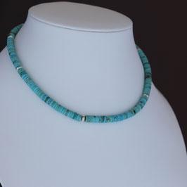 Halskette aus 925-Sterlingsilber und Türkis