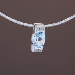 Anhänger aus 333-Weißgold, Blautopas und Diamant (0,01 ct.)