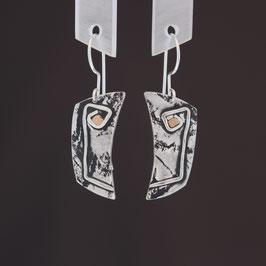 Ohrhänger aus geschwärztem 925-Sterlingsilber und Kupfer