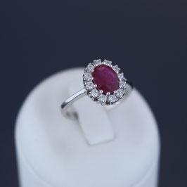 Ring aus rhodiniertem 925-Sterlingsilber, Rubin und Zirkonia