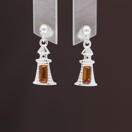 """Ohrhänger """"Leuchtturm"""" aus 925-Sterlingsilber und baltischem Bernstein"""