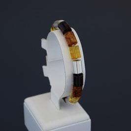 Armband aus 925-Sterlingsilber und baltischen Bernsteinen auf Edelstahldraht