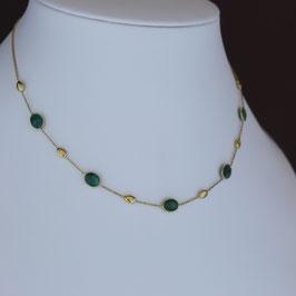 Collier aus 375-Gelbgold und Smaragd