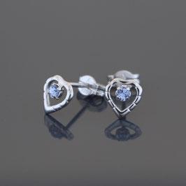 """Ohrstecker """"Herz"""" aus rhodiniertem 925-Sterlingsilber und Kristallglas"""