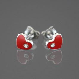 """Ohrstecker """"Herz"""" aus rhodiniertem 925-Sterlingsilber, rotem Lack und weißem Kristallglas"""