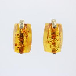 Ohrstecker aus 375-Gelbgold und baltischem Bernstein