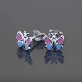 """Ohrstecker """"Schmetterling"""" aus rhodiniertem 925-Sterlingsilber und farbigem Lack"""