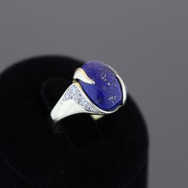 Ring aus 333-Gelbgold, Lapislazuli und Zirkonia