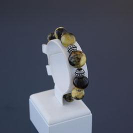 Armband aus geschwärztem 925-Sterlingsilber, Edelstahldraht und baltischen Bernsteinen