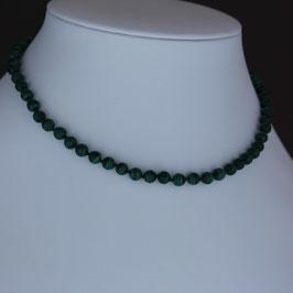 Halskette aus 925-Sterlingsilber und Malachit