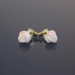 """Ohrstecker """"Rose"""" aus 333-Gelbgold und Astkoralle"""