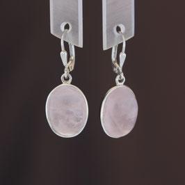 Ohrhänger aus 925-Sterlingsilber und Rosenquarz