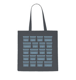 Maltese Balconies Tote Bag - Grey/Light Sky Blue