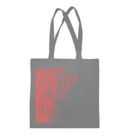 Malta Cities Tote Bag - Grey/Coral