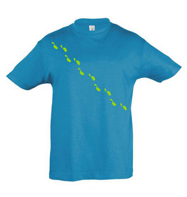 Kids Steps Tshirt - Aqua/Lime