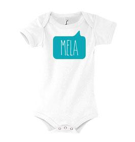 Baby Mela Bodysuit - White/Aqua