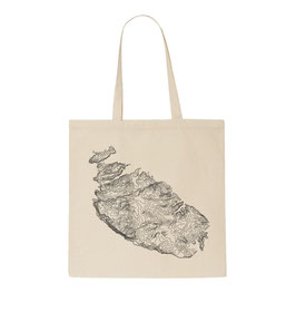Malta Topography Tote Bag - Natural/Black