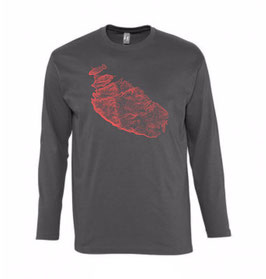 Men's Topography Long Sleeve Tshirt - Dark Grey/Coral XL
