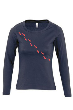 Women's Long Sleeve Steps Tshirt - Navy/Coral