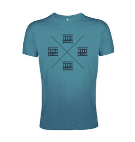 Men's Maltese Balconies Tshirt - Duck Blue/Black