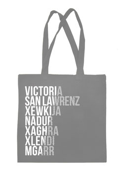 Gozo Cities Tote Bag - Grey/White