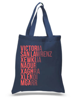 Gozo Cities Tote Bag - Navy/Coral