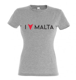 Women's I Love Malta Tshirt - Grey Marl