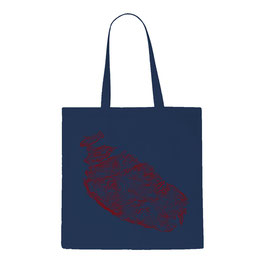 Malta Topography Tote Bag - Navy/Red