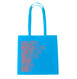 Malta Cities Tote Bag - Blue/Coral