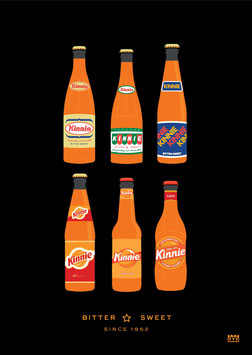 Kinnie 6 Bottles A3 Poster