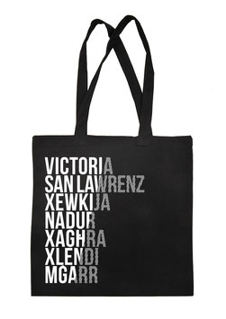 Gozo Cities Tote Bag - Black/White