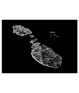 Black Topography Map Poster