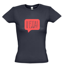 Women's U Ejja T-shirt - Navy/Coral