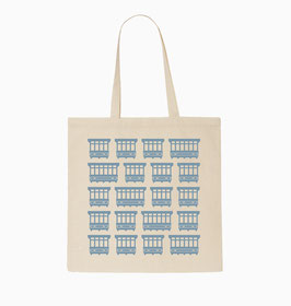 Maltese Balconies Tote Bag - Natural/Light Sky Blue