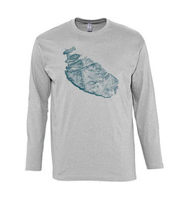 Men's Topography Long Sleeve Tshirt - Grey Marl/Petrol Blue