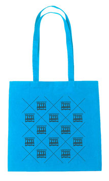 Maltese Balconies Tote Bag - Aqua/Black