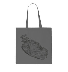 Malta Topography Tote Bag - Grey/Black