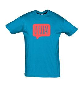 Men's U Ejja T-shirt - Aqua/Coral