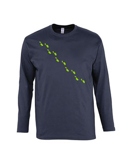 Men's Long Sleeve Steps Tshirt - Navy/Lime