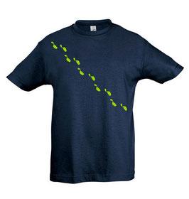 Kids Steps Tshirt - Navy/Lime