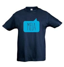 Kids Mela Tshirt - Navy Blue/Aqua