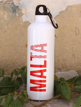 Malta Aluminum Sports Bottle - White/Red