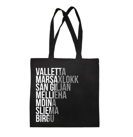 Malta Cities Tote Bag - Black/White